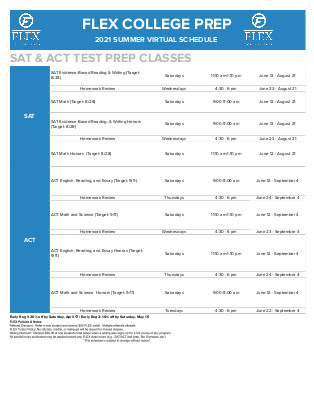 2021              Summer ACT/SAT Flyer